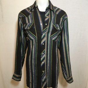 Vintage Black and Grey Wrangler Button Up